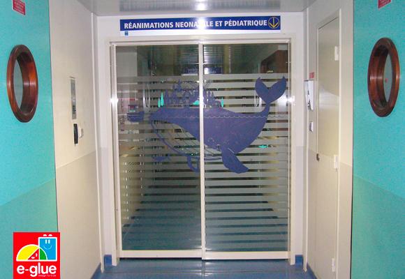 stickers e-glue pour le service de néonatalogie de l'hôpital de Rennes