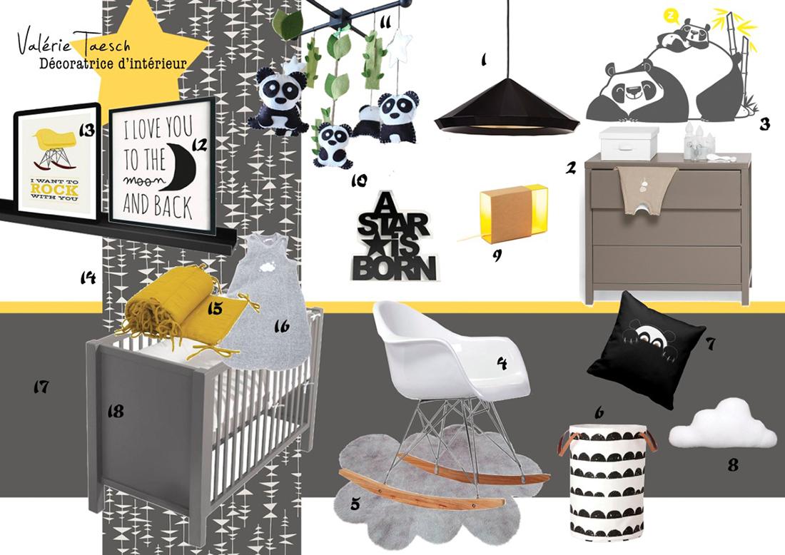 Decoration chambre bebe jaune et gris for Chambre garcon jaune et grise