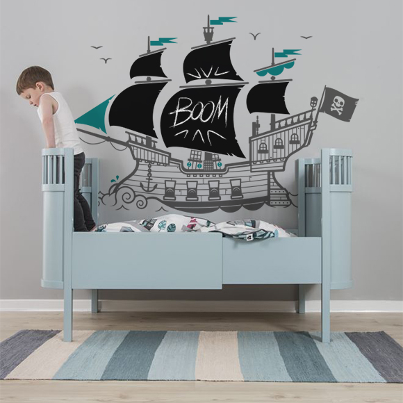 nouveau stickers ardoise bateau pirate pour enfants e glue blog. Black Bedroom Furniture Sets. Home Design Ideas