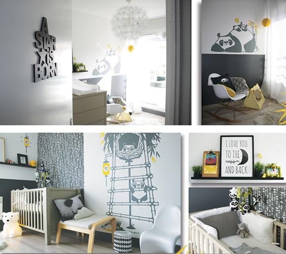 Stickers enfants Panda par E-Glue pour jolie chambre enfants ou chambre bébé