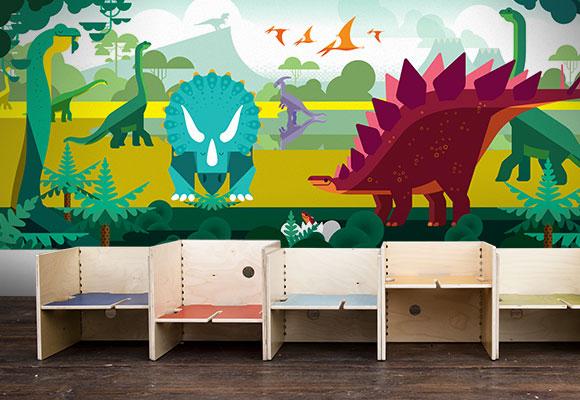 Decoraci n dinosaurios papel pintado infantil murales for Murales de tela para pared
