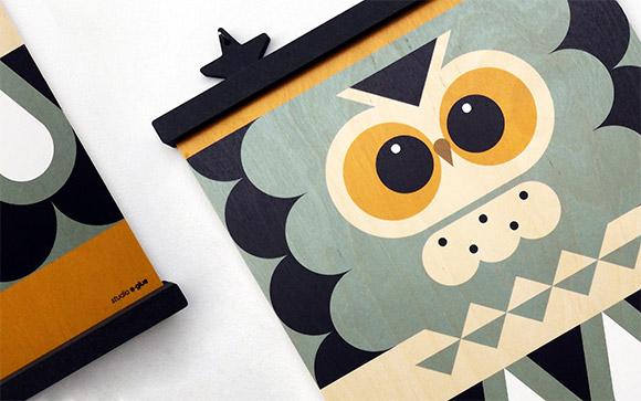 Affiches pour Enfants, motif Chouette sur bois d'érable, par E-Glue studio
