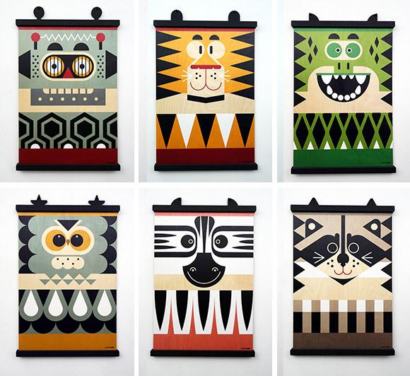 poster bois et cintres porte-affiches assortis Minipi et Earwigo par E-Glue