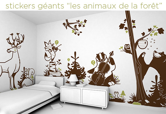 Stickers Enfants, theme Animaux de la Forêt par le studio design E-Glue