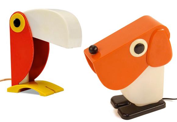 FERRARI & TACMAN // toucan & dog lamps