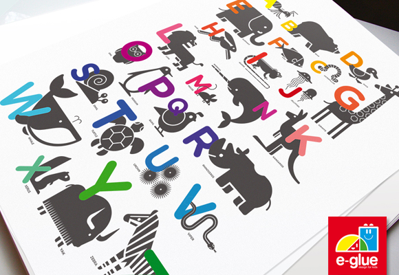 abc alphabet children's poster print by e-glue studio