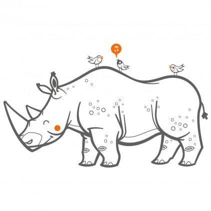 sticker enfant savane rhinoceros