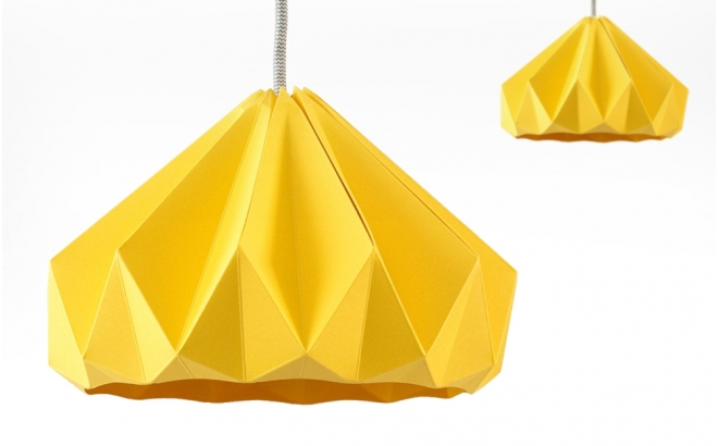 Children Origami Lampshade Chesnut Snowpuppe Gold Yellow