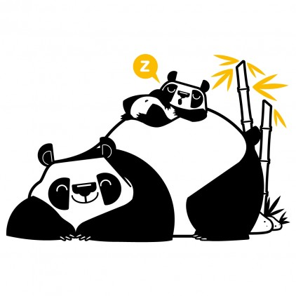 stickers enfant asie maman panda