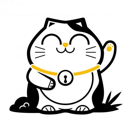 stickers enfant asie chat maneki-neko