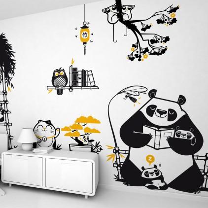 stickers enfant Panda, déco murale chambre bébé