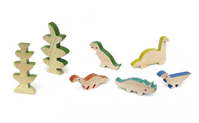 wooden kids toys cheekeyes dinosaurs set