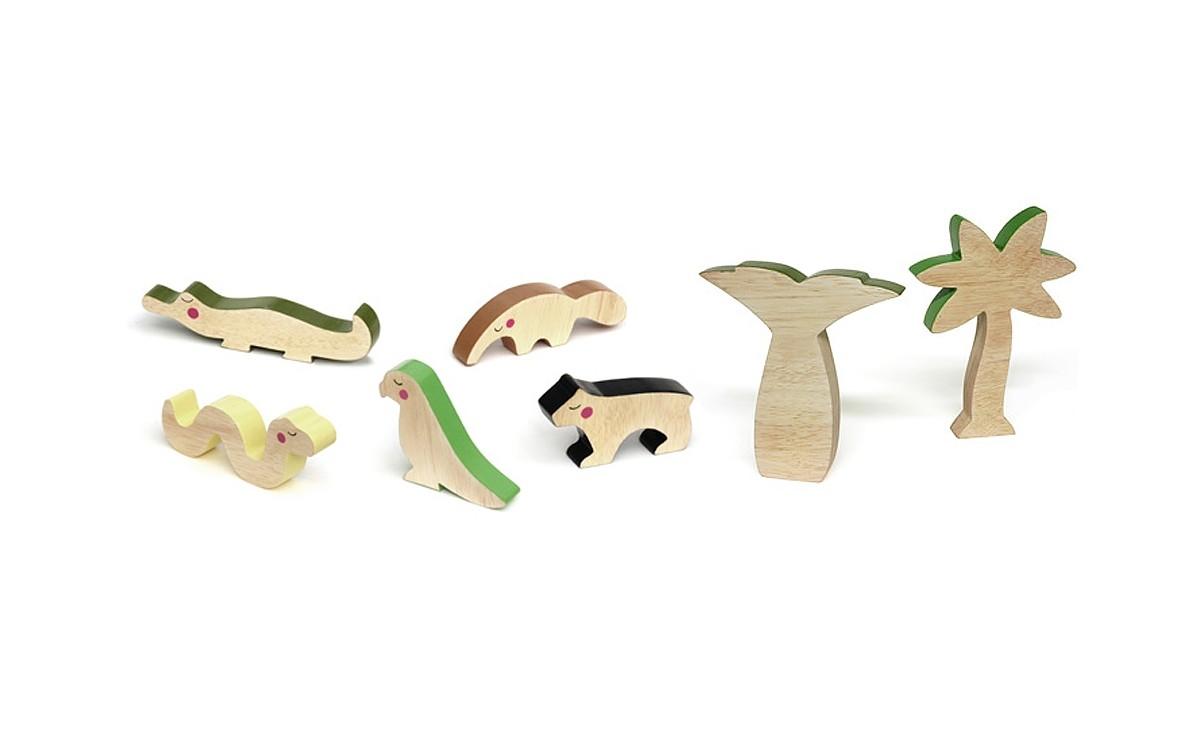 jouets en bois animaux jungle d coration chambre b b et. Black Bedroom Furniture Sets. Home Design Ideas