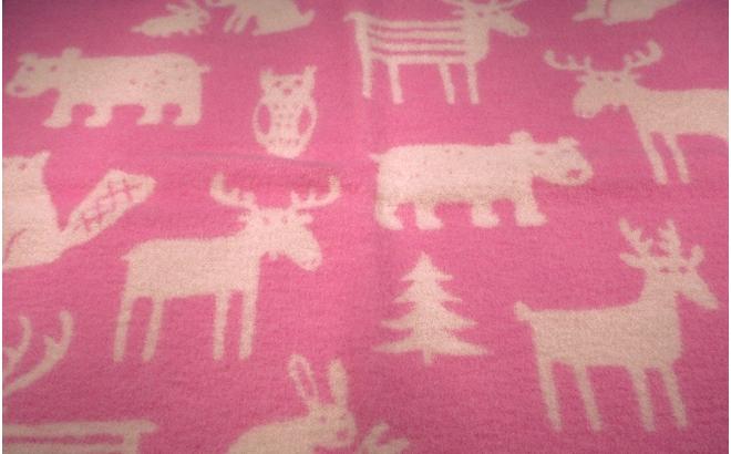 manta infantil lana bebé niño niña klippan forest rosa