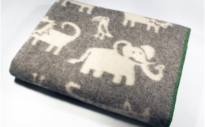 couverture laine bébé enfant klippan jungle gris