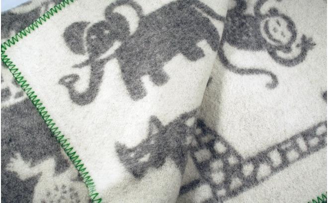 manta infantil lana bebé niño niña klippan jungle gris