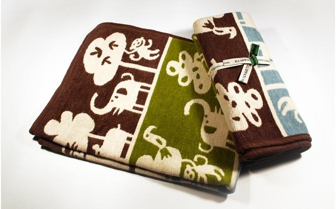 couverture coton bébé enfant klippan safari marron