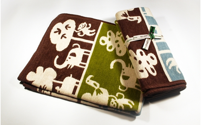 manta infantil algodón bebé niño niña klippan safari marrón