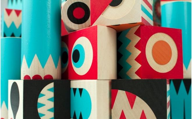 jeu de cubes de construction en bois stack and scare 1 par uncle goose