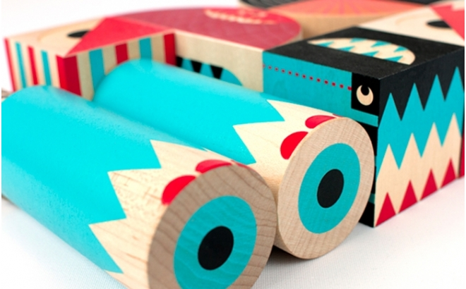 wooden building blocks game stack and scare 4 by uncle goose