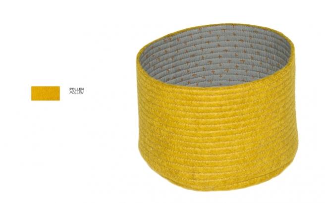 cestas infantiles reversibles de fieltro amarillo S por Muskhane