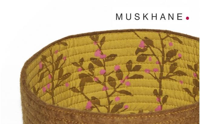 kids brown felt reversible baskets S by Muskhane