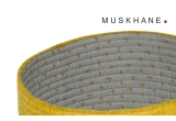 cestas infantiles reversibles de fieltro amarillo M por Muskhane