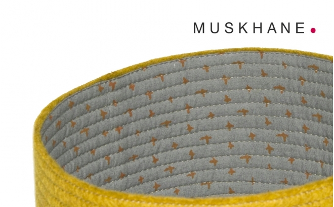 kids yellow felt reversible baskets M by Muskhane
