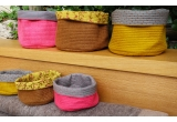 cesta de fieltro reversible amarillo