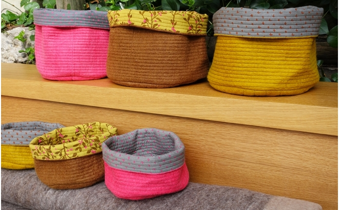 reversible yellow felt basket