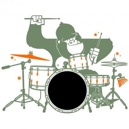 kids chalkboard wall decals gorilla drummer XXL