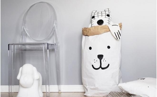 sac de rangement en papier ours par tellkiddo
