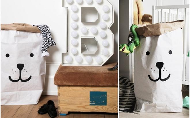 sac de rangement ours pour chambre enfant