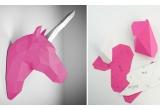 trophée mural origami animal pour chambre enfant, licorne rose