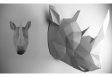 origami animal trophy for kids room, grey rhinoceros