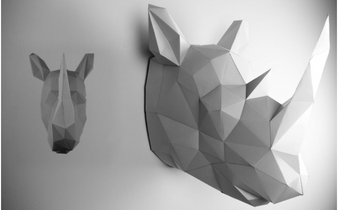 trofeo origami de pared animal para habitación infantil, rinoceronte gris