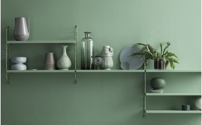 estantería de pared para habitación infantil string pocket verde