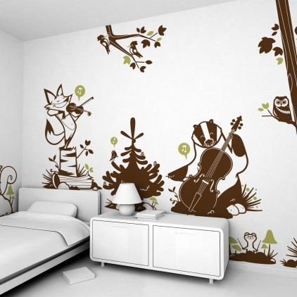 kids wall decals forest, will animals stickers