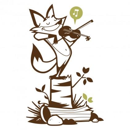 vinilos infantiles zorro, tema animales del bosque