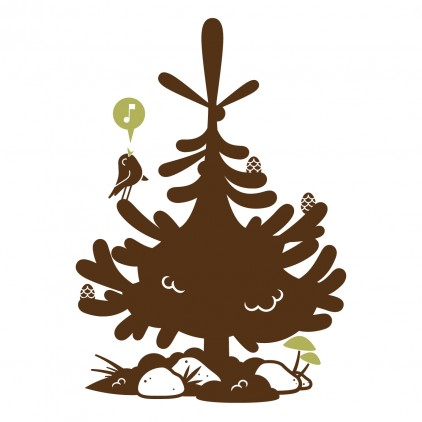 stickers enfant animaux de la foret, sticker sapin