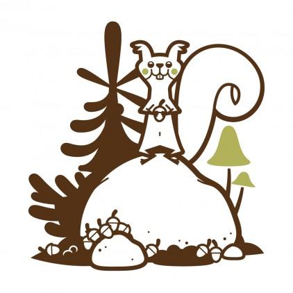 stickers enfant animaux de la foret, sticker écureuil