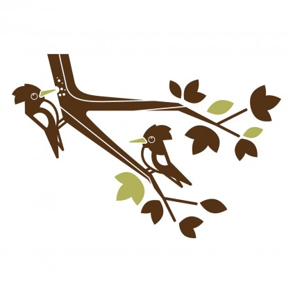 vinilos infantiles animales del bosque, vinilo picamadero