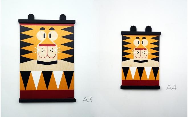 affiche enfant en bois minipic tigre
