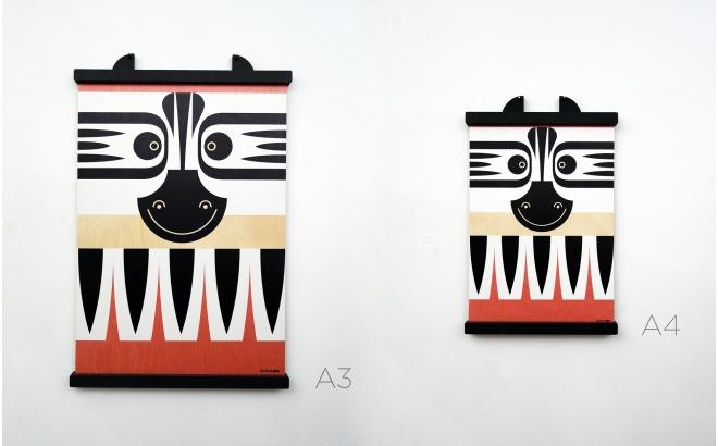 affiche enfant en bois minipic zebre