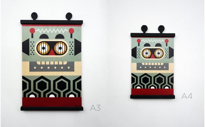 Beau Affiche Enfant En Bois Minipic Robot