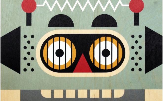 ... Affiche Enfant En Bois Minipic Robot ...