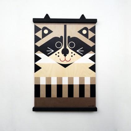 wooden poster print minipic raccoon