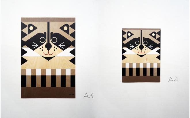 Poster Affiche en Bois Animaux Minipic
