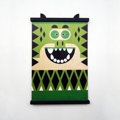 wooden poster print minipic crocodile