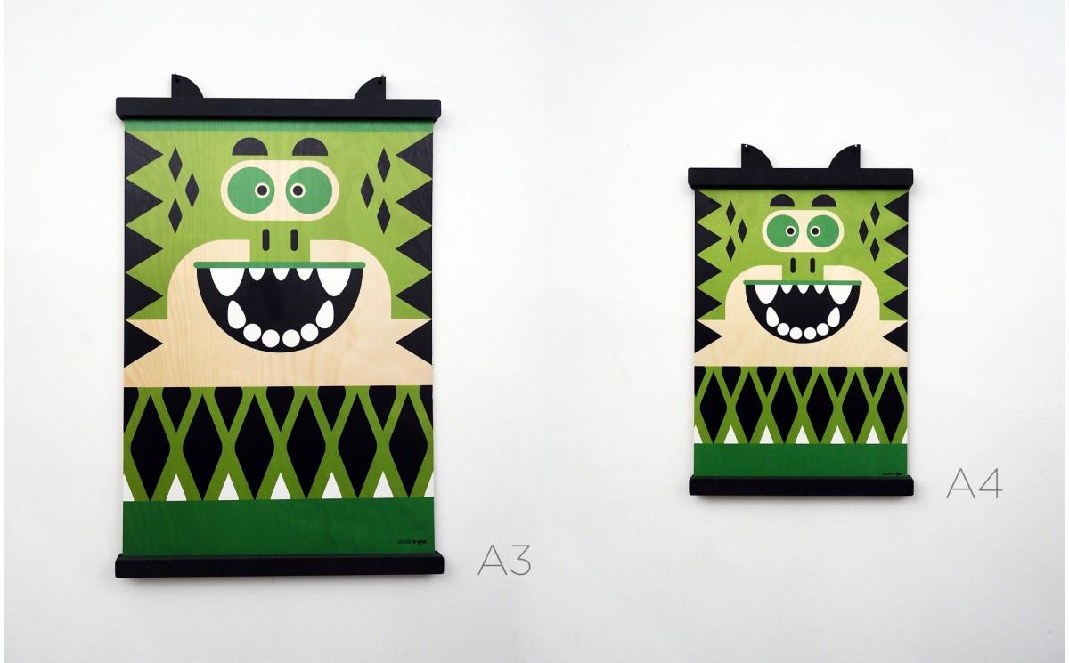 affiche enfant crocodile pour chambre b b et enfant impression sur bois pour d coration murale. Black Bedroom Furniture Sets. Home Design Ideas